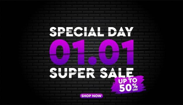 Modello di banner super vendita 1 gennaio.