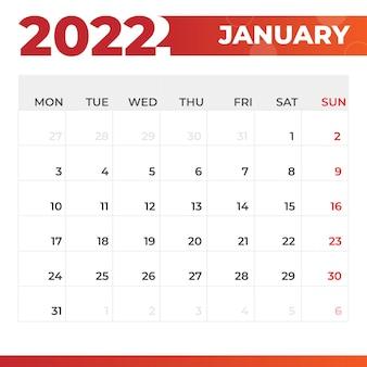 Calendario gennaio 2022