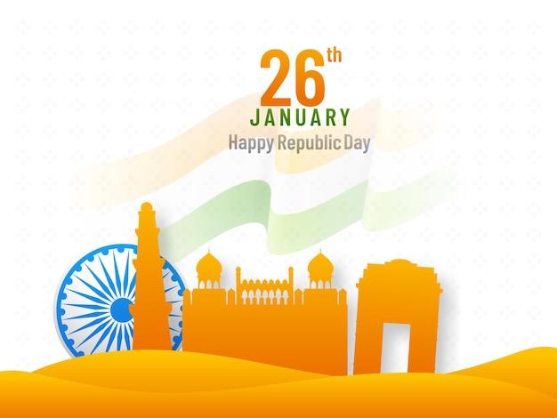 Gennaio, felice festa della repubblica concetto con ruota di ashoka e monumenti famosi di colore zafferano india su sfondo bianco.