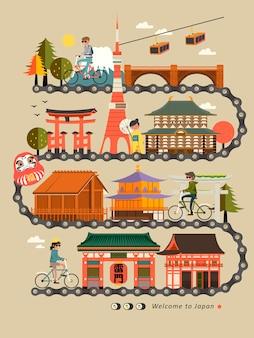 Progettazione della mappa di viaggio in bicicletta del giappone con attrazioni
