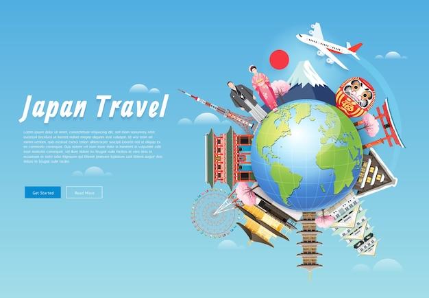 Monumenti famosi del giappone sfondo di viaggio con la torre di tokyo