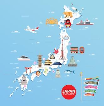 Mappa di viaggio famosi monumenti del giappone con la torre di tokyo