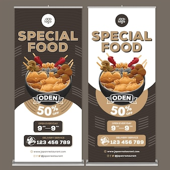 Modello di stampa banner roll up ristorante giapponese cibo in stile design piatto