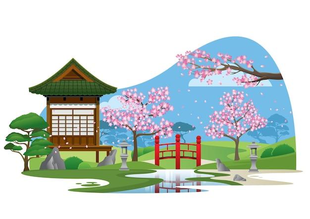 Giardino giapponese con piccola casa e ambiente