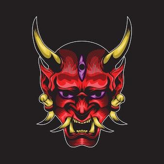 Illustrazione di vettore della maschera di hanya del giappone per progettazione della maglietta o il logo esport