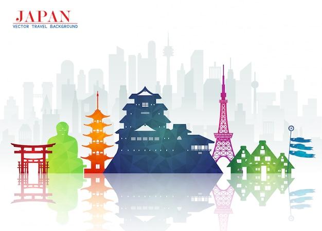 Carta globale di viaggio e di viaggio del punto di riferimento del giappone
