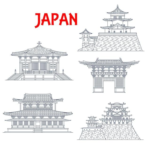 Icone dei punti di riferimento del giappone, templi, pagode e porte giapponesi a osaka