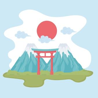 Giappone monte e cancello