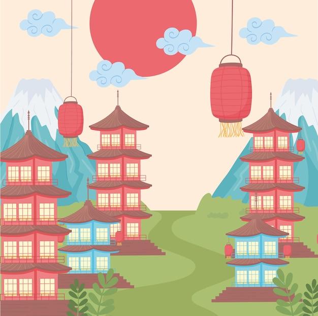 Pagode e lanterne giapponesi