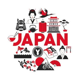 Icone della collezione di turismo poster giappone