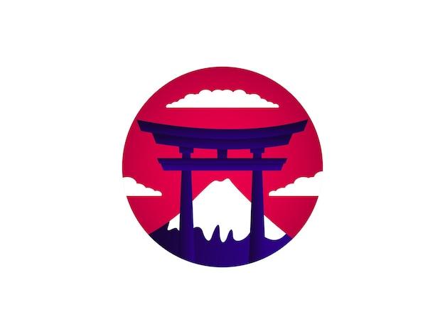 Concetto di design del logo del monte religione del giappone
