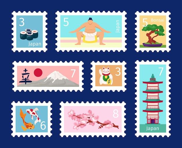 Set di francobolli del giappone, simbolo di viaggio