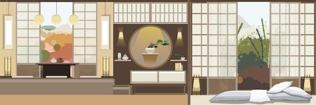 Soggiorno in stile giapponese con mobili Vettore Premium