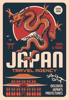 Poster retrò di agenzia di viaggi giappone con drago giapponese di punti di riferimento