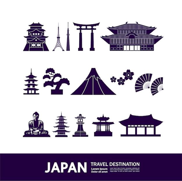 Illustrazione della destinazione di viaggio in giappone
