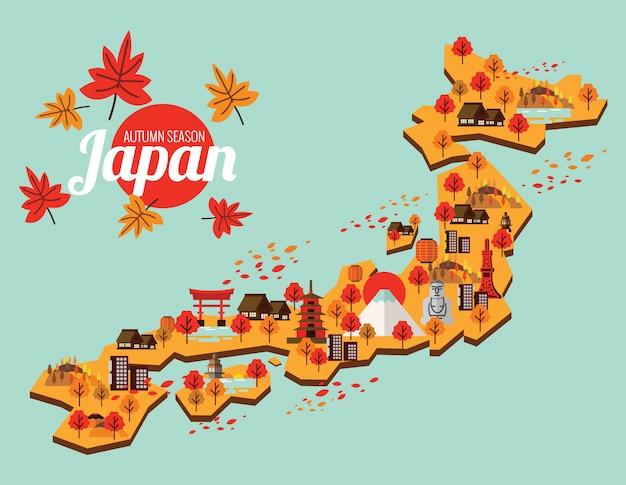 Mappa di viaggio del giappone. stagione autunnale in giappone