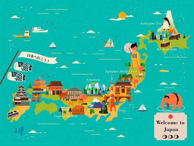 Illustrazione di progettazione della mappa di viaggio del giappone