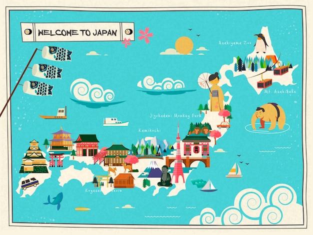 Progettazione della mappa di viaggio del giappone con attrazioni e simbolo culturale