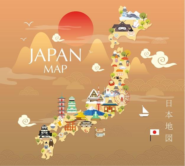 Mappa di viaggio del giappone nell'illustrazione piana.