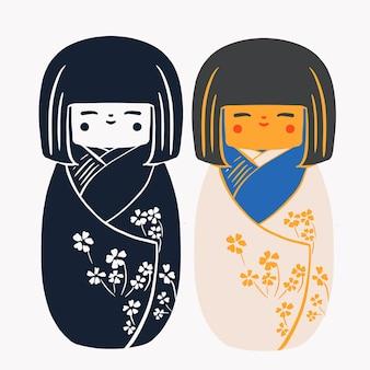 Bambole di legno giapponesi kokeshi