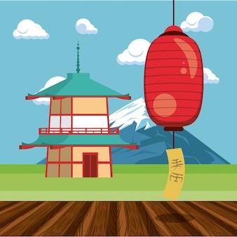 Architettura giapponese in natura Vettore Premium
