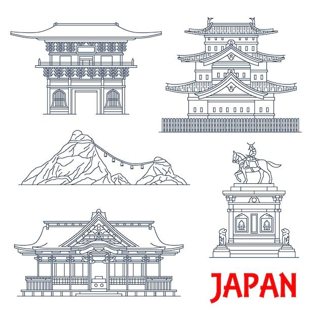 Architettura giapponese, punti di riferimento dei templi e case del santuario del giappone,