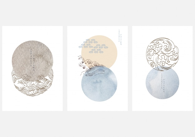 Opere d'arte giapponese con stile geometrico. design giapponese con elementi ondulati. decorazione ad acquerello