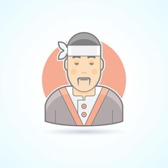 Cuoco giapponese e asiatico, maestro di sushi, icona della cucina tradizionale. illustrazione di avatar e persona. stile delineato colorato.
