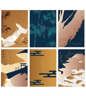 Sfondo giapponese con uccelli di gru e vettore di decorazione di bambù. oggetto castello, onda, nuvola e cancello. modello orientale con icona asiatica.