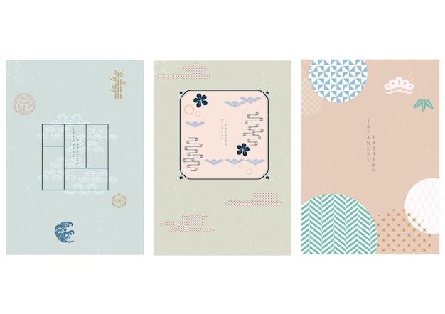 Sfondo giapponese con motivo geometrico. modello astratto in stile asiatico. Vettore Premium