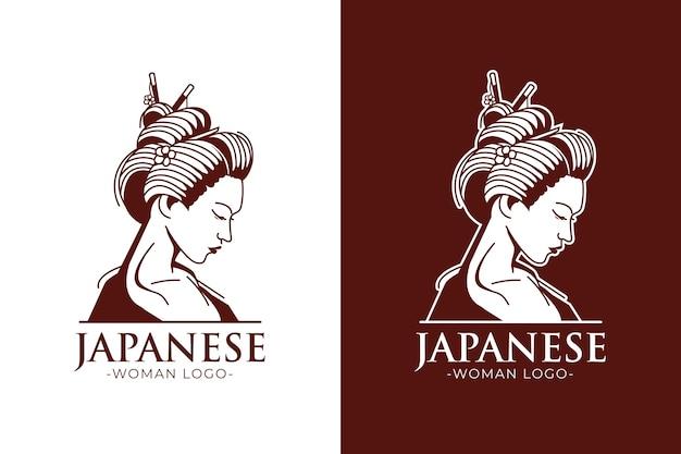 Modello di logo di donna di bellezza giapponese