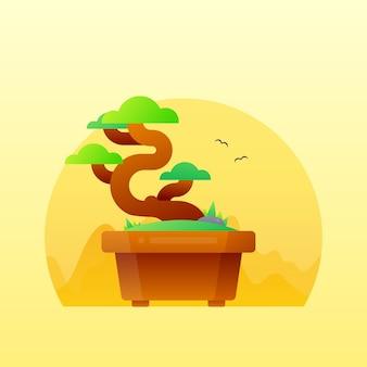 Illustrazione di gradiente carino albero bonsai giapponese