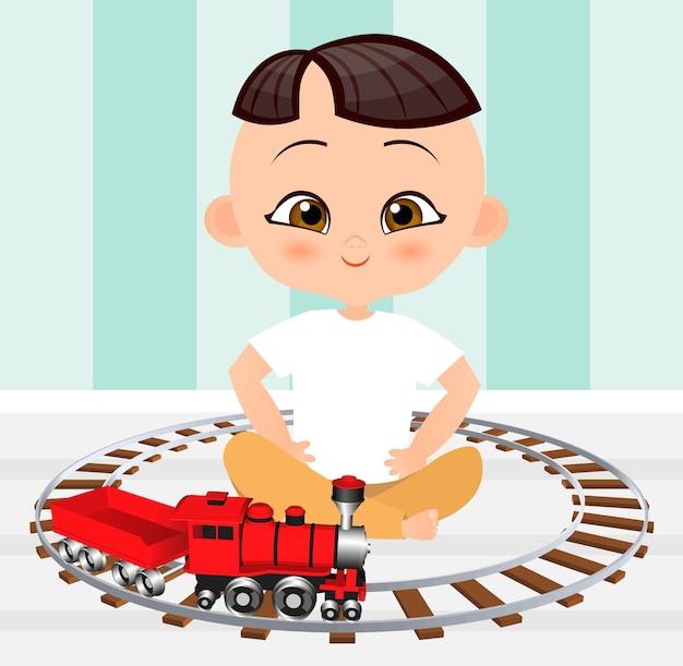 Ragazzo giapponese con trenino. ragazzo che gioca con il treno. stile cartone animato piatto.