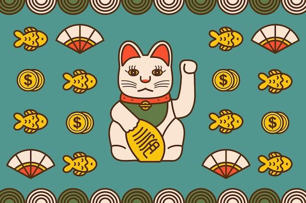 Gatto giapponese manekineko illustrazione vettoriale con pesce denaro e sfondo orientale
