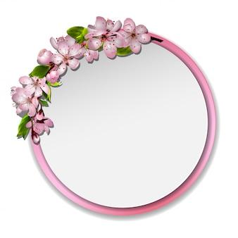 Specchio giapponese con fiori di ciliegio