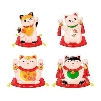 Collezione giapponese di gatti maneki neko in stile kartun