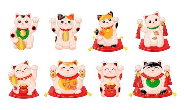Collezione giapponese di gatti maneki neko