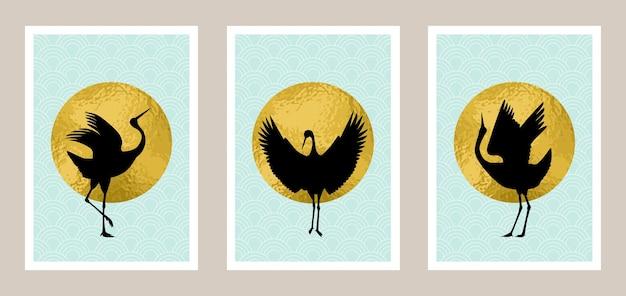Set artistico gru giapponese con sfondo in lamina d'oro