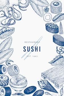 Modello di sfondo di cucina giapponese