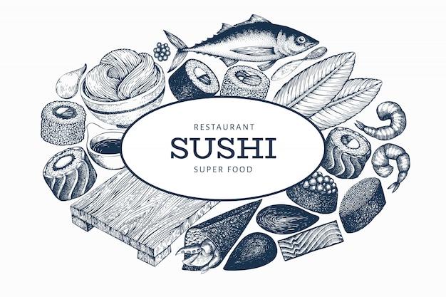 Modello della bandiera di cucina giapponese