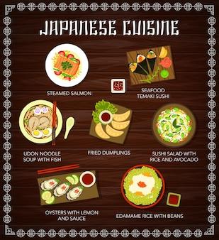 Menu di cucina giapponese, piatti, poster dei pasti