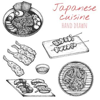 Insieme disegnato a mano di cucina giapponese, illustrazioni giapponesi abbozzate del piatto.