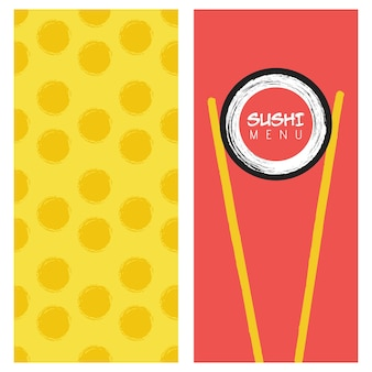 Copertina del menu di sushi del ristorante di cucina giapponese. modello per ristorante, bar, consegna o lavori aziendali.