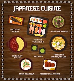 Cucina giapponese menu vettoriale spiedini di pesce alla griglia, nigiri e sushi uramaki e spaghetti soba di gamberetti. pentola calda shabu shabu, tè matcha e zuppa di noodle, uova con torta di pesce o zuppa di crema di gamberi piatti giapponesi