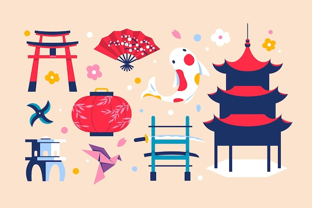 Design piatto di elementi di raccolta giapponese