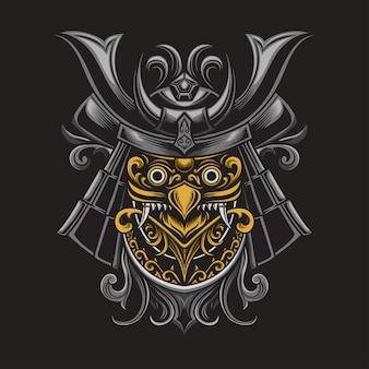 Illustrazione della maschera del samurai della cultura giapponese