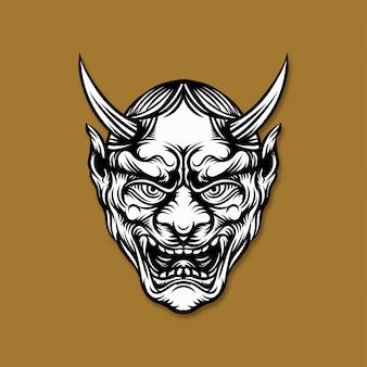 Illustrazione di maschera demone giapponese