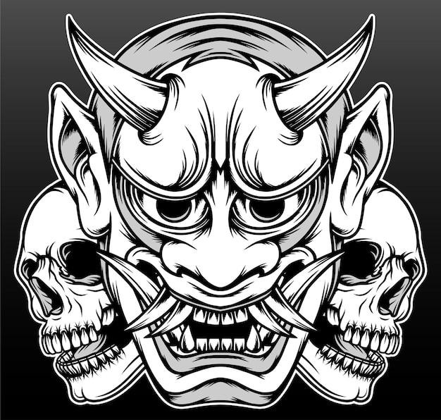 Maschera demone giapponese isolata sul nero