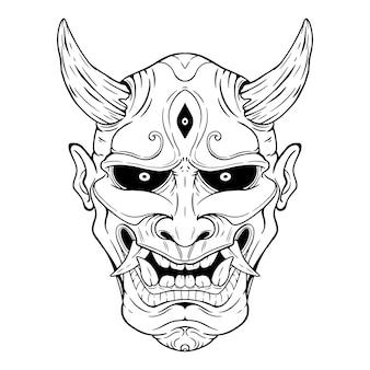 Maschera demone giapponese o maschera oni con stile di disegno a mano su sfondo bianco