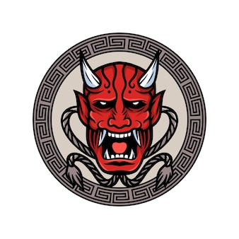 Illustrazione vettoriale di maschera demone giapponese